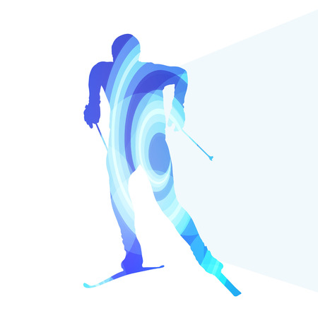 action sports: Skiing man silhouette illustration vector background colorful concept made of transparent curved shapes