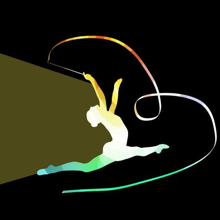 gimnasia: Gimnasia Mujer de arte con colorido concepto fondo de la cinta silueta ilustraci�n vectorial hecha de formas transparentes curvas Vectores