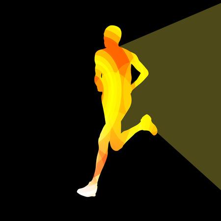 road runner: Man runner sprinter silhouette illustration vector background colorful concept made of transparent curved shapes Illustration