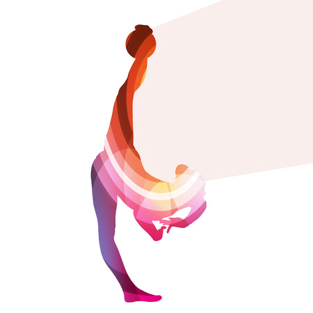 flexible woman: Modern rhythmic gymnastics woman with ball silhouette illustration vector background colorful concept made of transparent curved shapes
