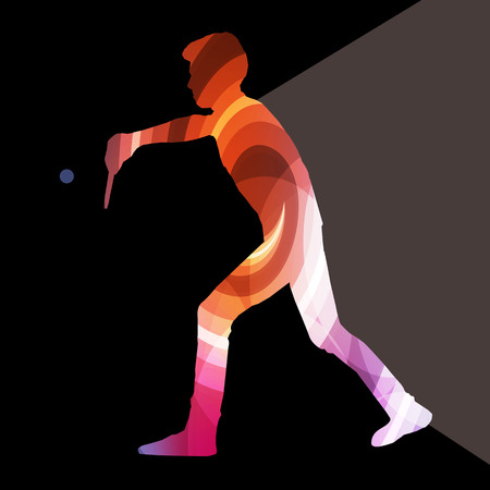 frolic: Table tennis player man silhouette illustration vector background colorful concept made of transparent curved shapes Illustration