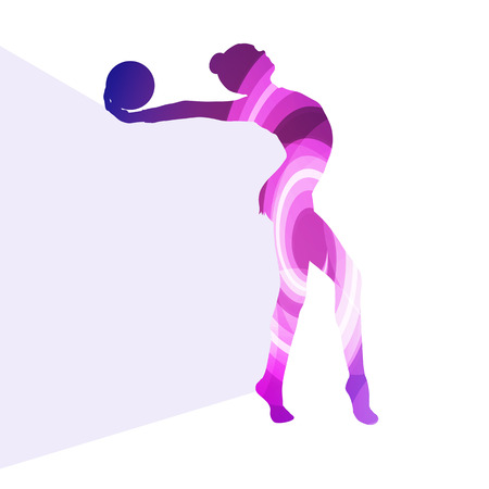 calisthenics: Modern rhythmic gymnastics woman with ball silhouette illustration vector background colorful concept made of transparent curved shapes
