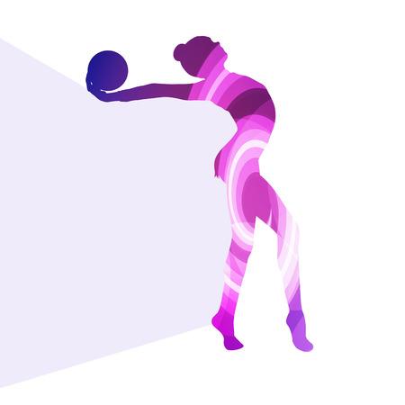 calisthenics: Mujer gimnasia r�tmica moderna con la silueta de la bola de fondo ilustraci�n vectorial colorido concepto hecha de formas curvas transparentes Vectores