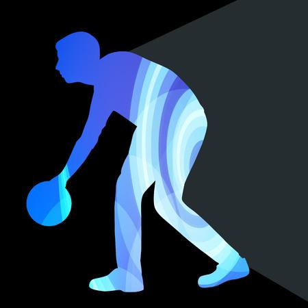 bolos: Hombre jugador de bolos de boliche silueta ilustración concepto colorido del vector del fondo hecha de formas transparentes curvas