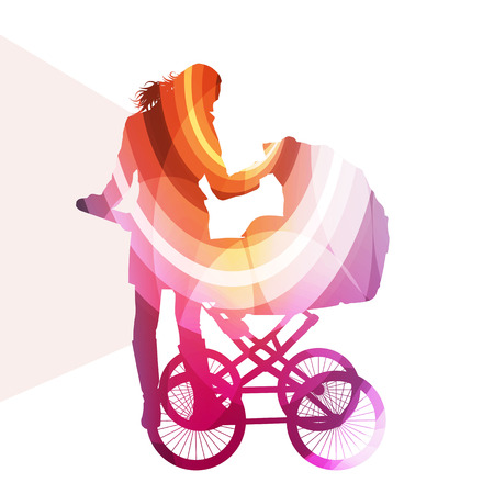 babysitter: Mother with baby strollers, carriage walking woman silhouette illustration vector background colorful concept made of transparent curved shapes