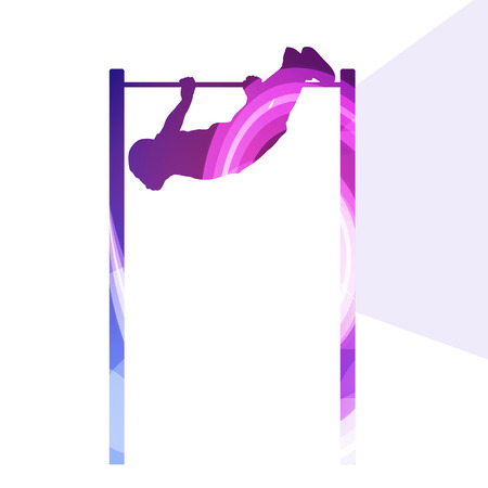 gripping bars: Man doing pull-up on bar silhouette illustration vector background colorful concept made of transparent curved shapes Illustration