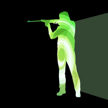 hombre disparando: El hombre del deporte de tiro concepto de colores de fondo silueta de caza ilustraci�n vectorial hecha de formas transparentes curvas