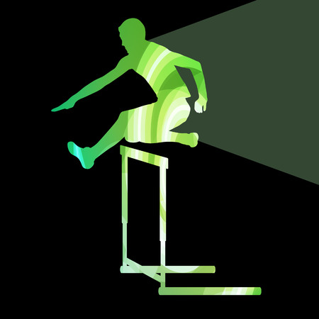 athletes: Athlete jumping hurdle, man silhouette, illustration, vector background, colorful concept made of transparent curved shapes Illustration