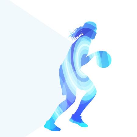 feminino: Basquete feminino jogador silhueta da mulher ilustração vetorial fundo colorido conceito feito de formas curvas transparentes