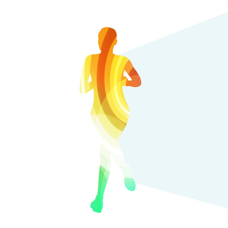 sprinter: Woman runner sprinter silhouette illustration vector background colorful concept made of transparent curved shapes