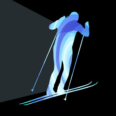 dangerous woman: Woman on ski silhouette illustration vector background colorful concept made of transparent curved shapes