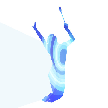 artistic: Modern rhythmic gymnastics young woman with clubs in acrobatics silhouette illustration vector background colorful concept made of transparent curved shapes Illustration