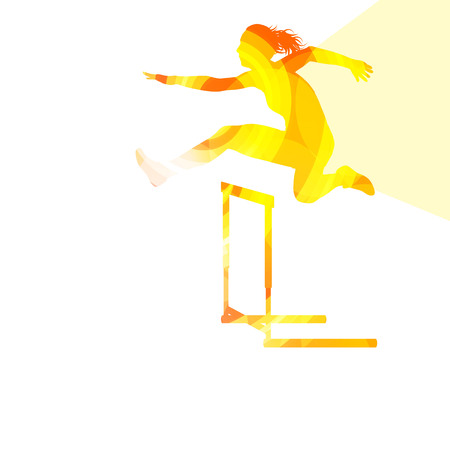Female athlete clearing hurdle, race silhouette illustration, vector background, colorful concept made of transparent curved shapes