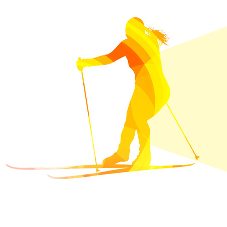 action sports: Woman on ski silhouette illustration vector background colorful concept made of transparent curved shapes