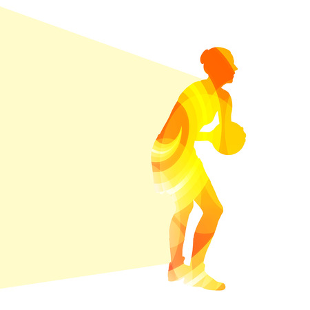 rebound: Basketball female woman player silhouette illustration vector background colorful concept made of transparent curved shapes