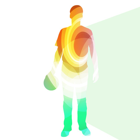 man holding transparent: Man bowler bowling silhouette illustration vector background colorful concept made of transparent curved shapes