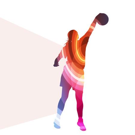 バスケット ボール女性プレーヤー シルエット イラスト ベクター背景カラフルなコンセプト透明湾曲した形で作られて