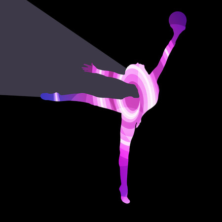 gymnastic: Modern rhythmic gymnastics woman with ball silhouette illustration vector background colorful concept made of transparent curved shapes