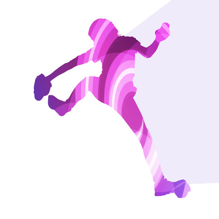 mountain climber: Mountain climber woman girl silhouette illustration vector background colorful concept made of transparent curved shapes Illustration