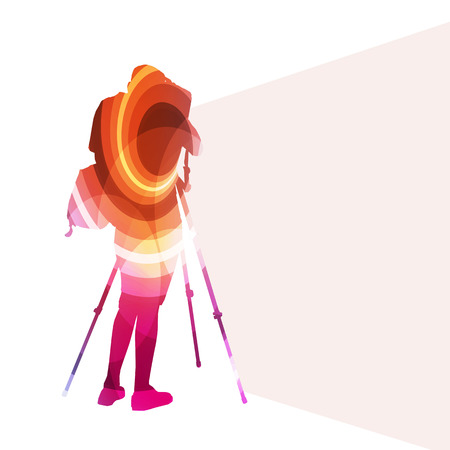 videographer: Cameraman with video camera silhouette illustration vector background colorful concept made of transparent curved shapes Illustration