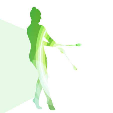 acrobatics: Modern rhythmic gymnastics young woman with clubs in acrobatics silhouette illustration vector background colorful concept made of transparent curved shapes Illustration