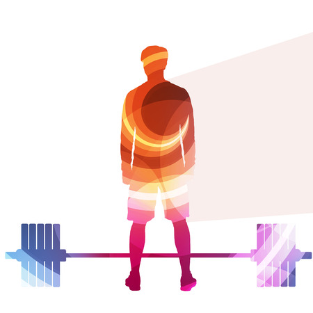 sport man: Weightlifter man silhouette illustration vector background colorful concept made of transparent curved shapes Illustration