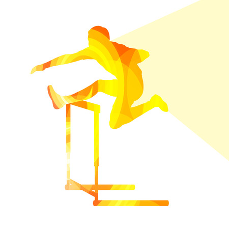 hurdle: Athlete jumping hurdle, man silhouette, illustration, vector background, colorful concept made of transparent curved shapes Illustration
