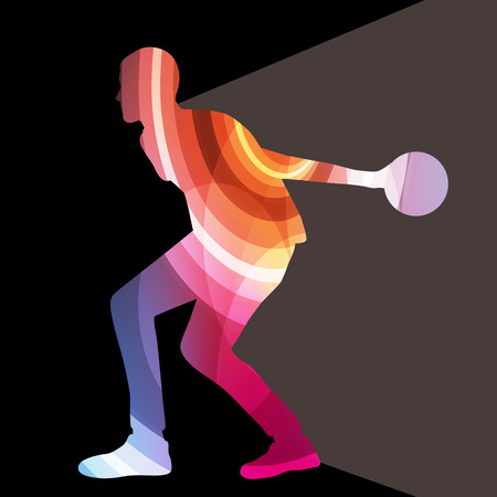 bowling strike: Man bowler bowling silhouette illustration vector background colorful concept made of transparent curved shapes