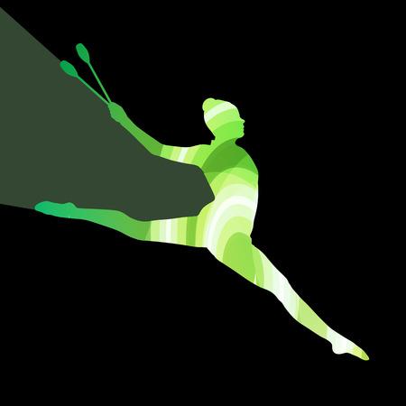 acrobacia: Gimnasia rítmica moderna mujer joven con clubes de acrobacias silueta ilustración vectorial de fondo colorido concepto hecha de formas curvas transparentes