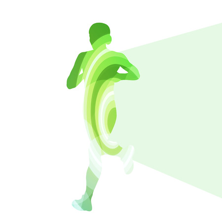 fitness woman: Woman runner sprinter silhouette illustration vector background colorful concept made of transparent curved shapes