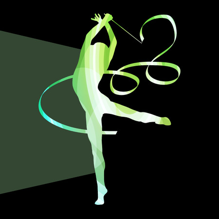 flexible woman: Woman art gymnastics with ribbon silhouette illustration vector background colorful concept made of transparent curved shapes