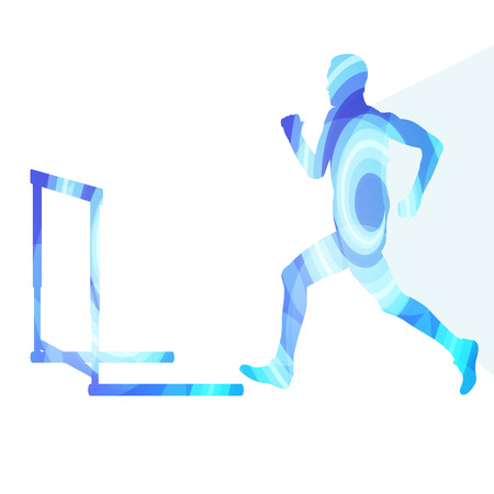 hurdling: Athlete jumping hurdle, man silhouette, illustration, vector background, colorful concept made of transparent curved shapes Illustration