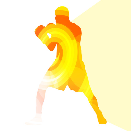 guard box: Boxing active young man box sport silhouette illustration vector background colorful concept made of transparent curved shapes