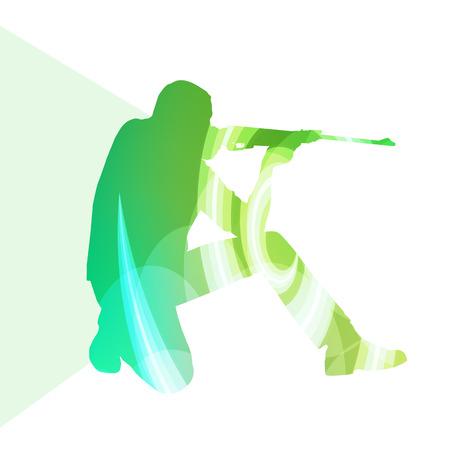 tiro al blanco: El hombre del deporte de tiro concepto de colores de fondo silueta de caza ilustración vectorial hecha de formas transparentes curvas