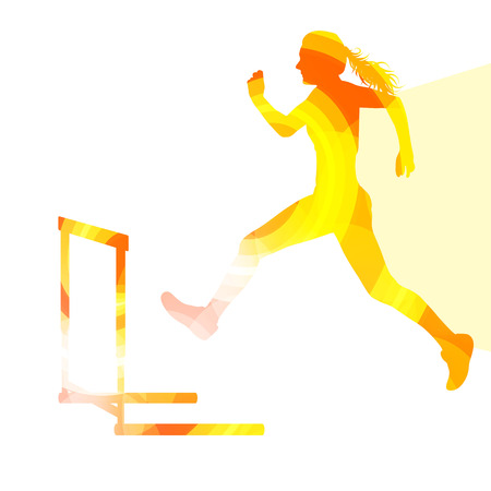 clearing: Female athlete clearing hurdle, race silhouette illustration, vector background, colorful concept made of transparent curved shapes
