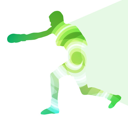 hand beats: Boxing active young man box sport silhouette illustration vector background colorful concept made of transparent curved shapes