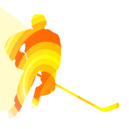 hockey background: Hockey player man silhouette illustration vector background colorful concept made of transparent curved shapes