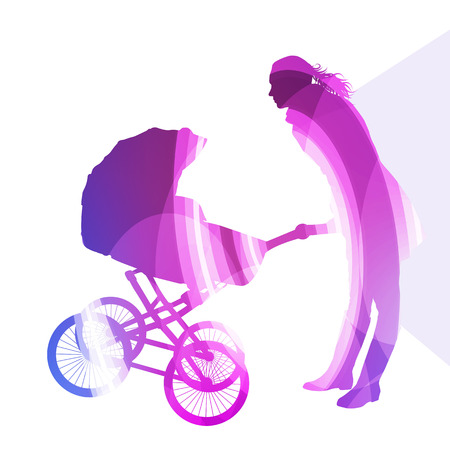 mother and baby: Mother with baby strollers, carriage walking woman silhouette illustration vector background colorful concept made of transparent curved shapes