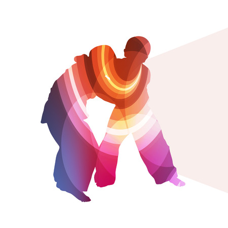 silueta hombre: Judo abstracto hombre silueta ilustración concepto colorido del vector del fondo hecha de formas transparentes curvas