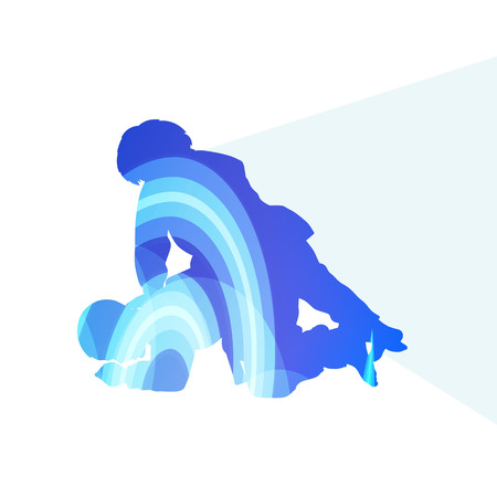 vector illustration: Judo abstract man silhouette illustration vector background colorful concept made of transparent curved shapes