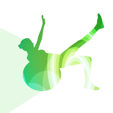 flexible woman: Woman with fitness ball silhouette illustration vector background colorful concept made of transparent curved shapes