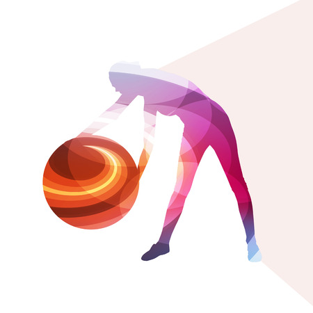 fitness ball: Woman with fitness ball silhouette illustration vector background colorful concept made of transparent curved shapes