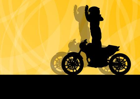 casco moto: El rendimiento de la motocicleta conductor especialista extrema del concepto del fondo del vector del hombre Vectores