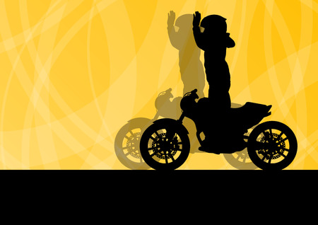 motorbike: Motorcycle performance extreme stunt driver man vector background concept