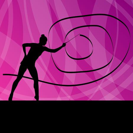 gymnastik: Kid Mädchen mit Band rhythmische Gymnastik Vektor Hintergrund Konzept für Plakat
