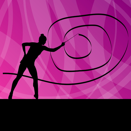 gimnasia: Muchacha del cabrito con el concepto de fondo de la cinta de gimnasia rítmica del vector para el cartel Vectores