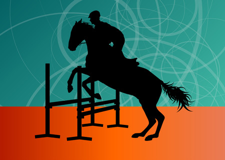 equestrian: Jumping horses with jockey equestrian sport vector background concept