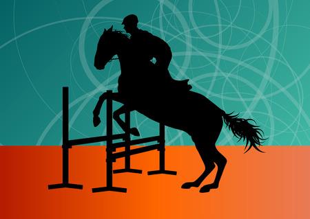 sportsman: Saltando caballos con jinete deporte ecuestre concepto de vectores de fondo Vectores