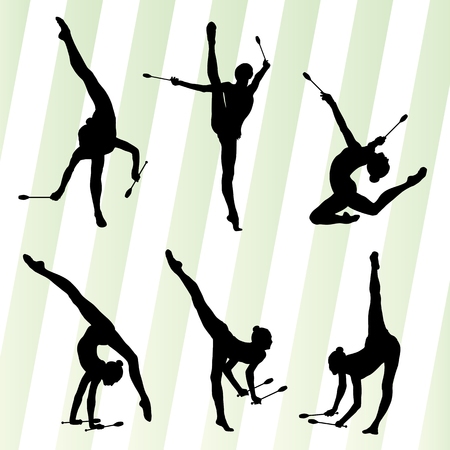 indian student: Female woman modern rhythmic gymnastics art with Indian clubs vector set background concept