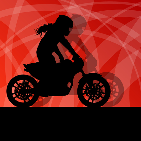 stunts: Motorcycle performance extreme stunt driver woman vector background concept